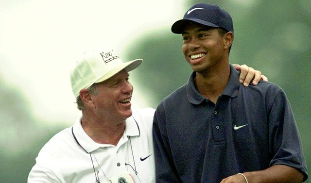 Tiger Woods being coached